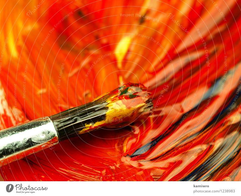 Malen und putzen auf der Palette. alt blau grün Farbe rot Stil Kunst hell Design dreckig Kreativität zeichnen Bild Werkzeug Entwurf wenige