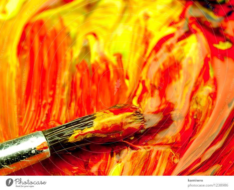 Malen und putzen auf der Palette. Stil Design Werkzeug Kunst alt zeichnen dreckig hell blau grün rot Farbe Kreativität Bürste Bürsten Künstler Erdöl Hintergrund