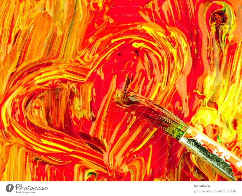 Malen und putzen auf der Palette. Stil Design Werkzeug Kunst Herz alt Liebe zeichnen dreckig hell blau grün rot Farbe Kreativität Form Bürste Künstler Erdöl