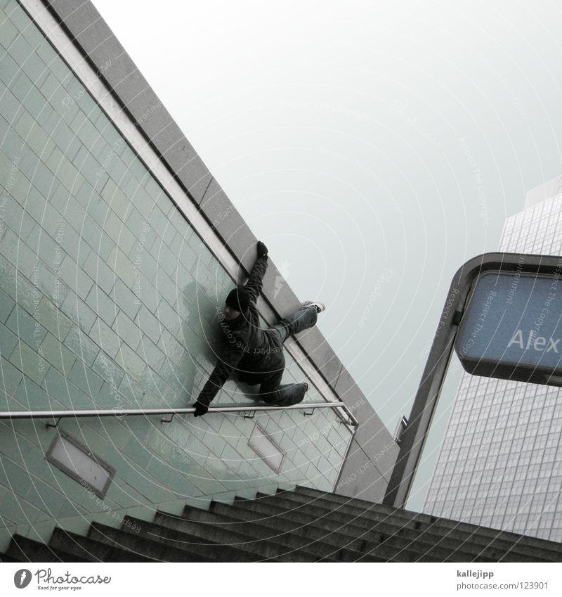 spread your wings Mensch Himmel Mann Hand Stadt Haus Fenster Berge u. Gebirge Gefühle Berlin Architektur springen See Lampe Luft Linie