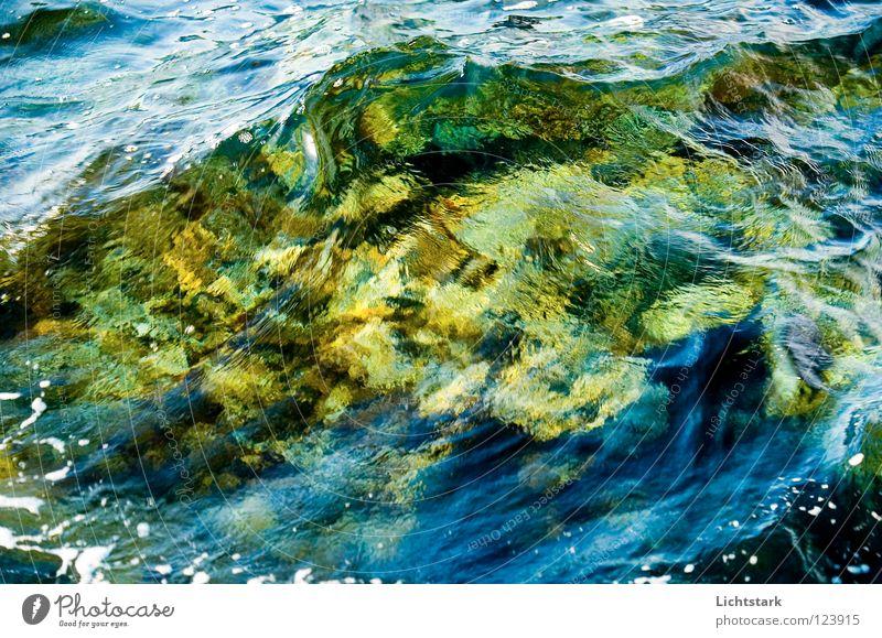 welle II Wasser Meer grün Ferien & Urlaub & Reisen ruhig Farbe Kraft Bach Wellen Energiewirtschaft Konzentration Grünfläche Sturzbach Wasserschwall