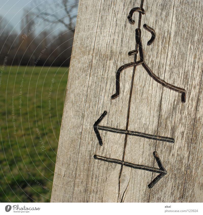 Wohin? Sport Wiese Spielen Holz Landschaft Gesundheit laufen Schilder & Markierungen rennen Sportveranstaltung Pfosten Joggen Ausdauer krumm Marathon
