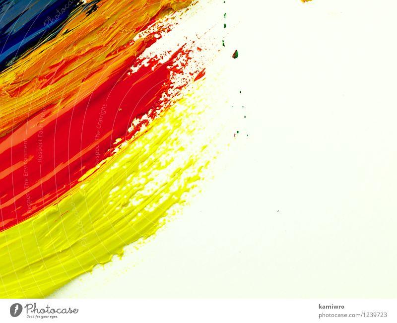 Bunte Pinselstriche auf einem weißen Blatt. alt blau grün Farbe rot Stil Kunst hell Design dreckig Kreativität Papier zeichnen Bild Werkzeug Entwurf