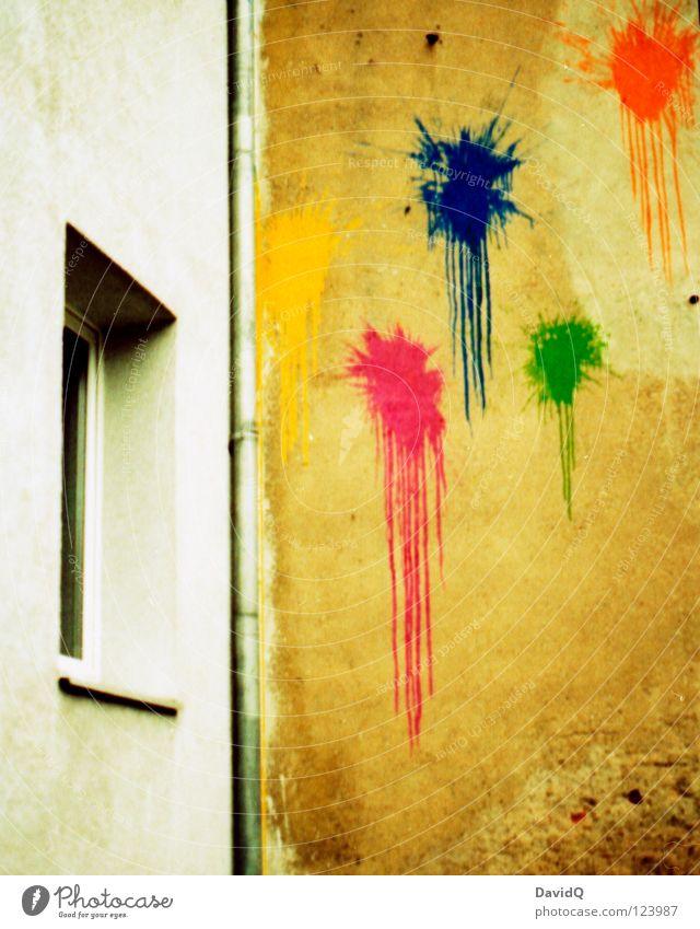 colour your hauswand! Wand Mauer Fassade Haus Fenster Farbfleck spritzen mehrfarbig trist protestieren rebellieren Wut Demonstration beschmutzen zerstören