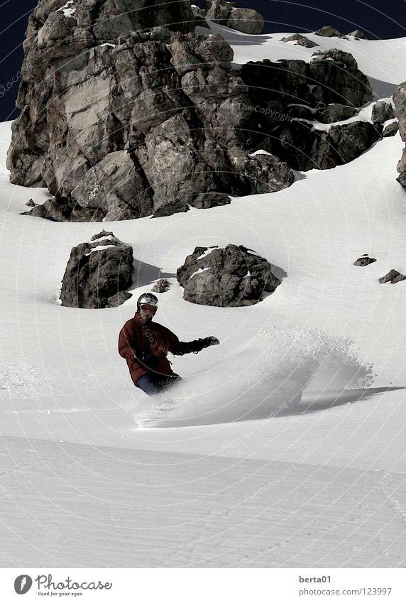 Yeah! Himmel blau Winter schwarz Sport kalt Schnee Spielen Berge u. Gebirge Freiheit Stein braun Felsen Schweiz silber Wintersport