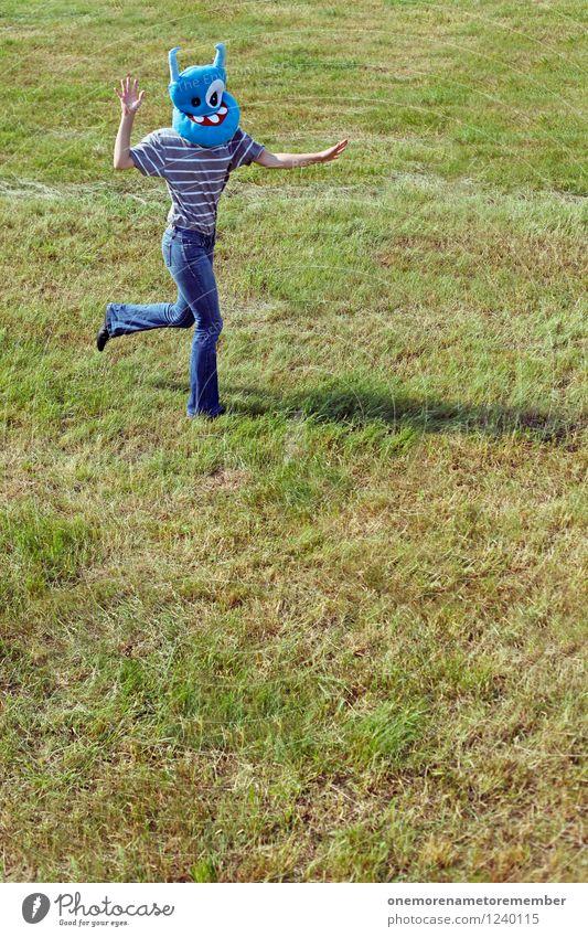 keep running Kunst Kunstwerk ästhetisch rennen flüchten Bewegung Irritation Panik Stress Jugendliche verrückt irre laufen Joggen Sport Sportveranstaltung Wiese