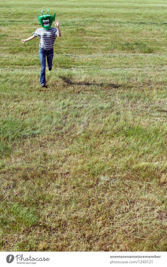 AAAAAAAH! Kunst Kunstwerk ästhetisch Wiese rennen laufen Rasen grün Jugendliche Jugendbewegung Freude spaßig Spaßvogel Spaßgesellschaft Joggen Farbfoto