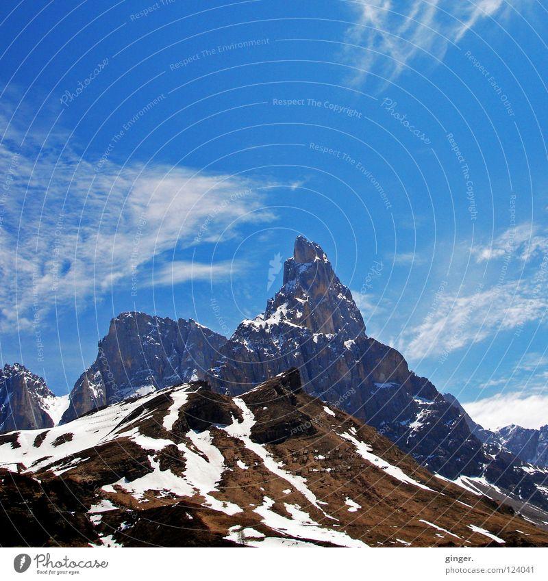 Eis am Berg Himmel blau Ferien & Urlaub & Reisen weiß Wolken Berge u. Gebirge Schnee Reisefotografie hoch Frost Gipfel Italien Gletscher Dolomiten Südtirol