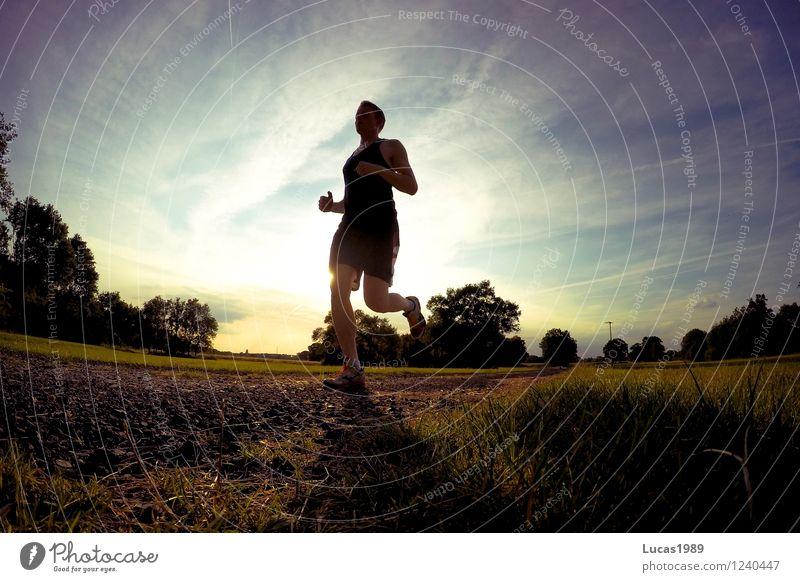 Lauf schneller! Mensch Himmel Natur Jugendliche Mann Sommer Sonne Junger Mann 18-30 Jahre Erwachsene Wärme Wiese Gras Sport Sand maskulin