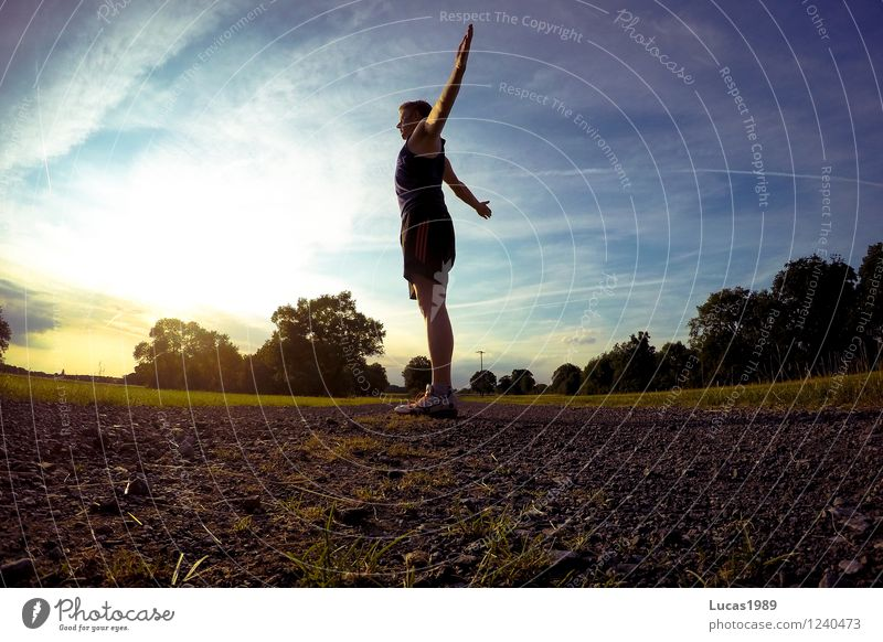 Die Sonne genießen Sport Fitness Sport-Training Leichtathletik Sportler Joggen dehnen Mensch maskulin Junger Mann Jugendliche Erwachsene 1 18-30 Jahre