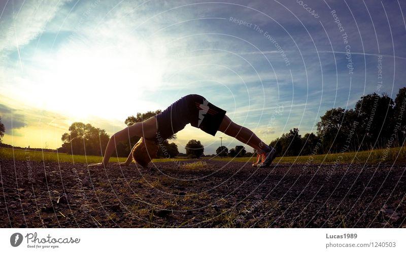 Männer-Yoga Mensch Natur Jugendliche Mann Sommer Junger Mann 18-30 Jahre Erwachsene Umwelt Leben Wiese Sport Gesundheit Sand Park maskulin