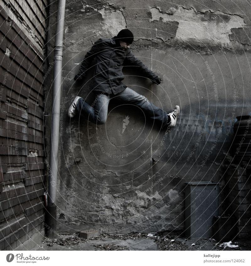 steuerflüchtig Mann Silhouette Dieb Krimineller Rampe Laderampe Fußgänger Schacht Tunnel Untergrund Ausbruch Flucht umfallen Fenster Parkhaus Geometrie