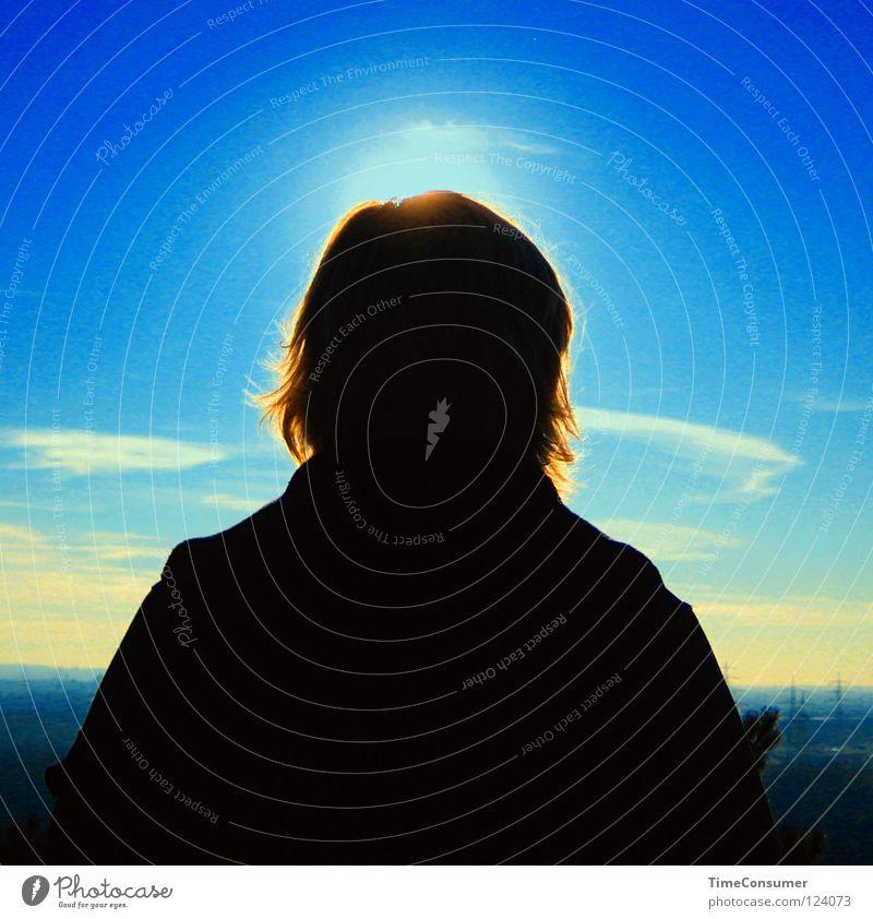 lichtgestalt(erin) Mensch Himmel Sonne Rücken Frieden Blauer Himmel Himmelskörper & Weltall
