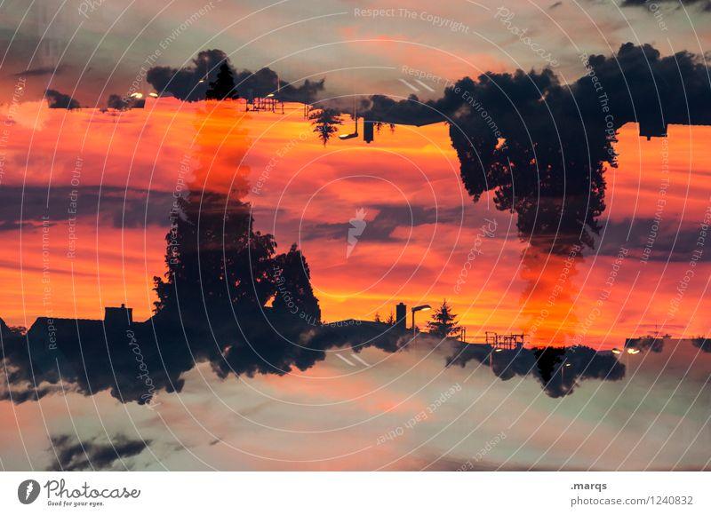 Sommerabend Umwelt Natur Landschaft Urelemente Himmel Wolken Horizont Schönes Wetter Baum Dach entdecken Erholung außergewöhnlich schön orange rot schwarz