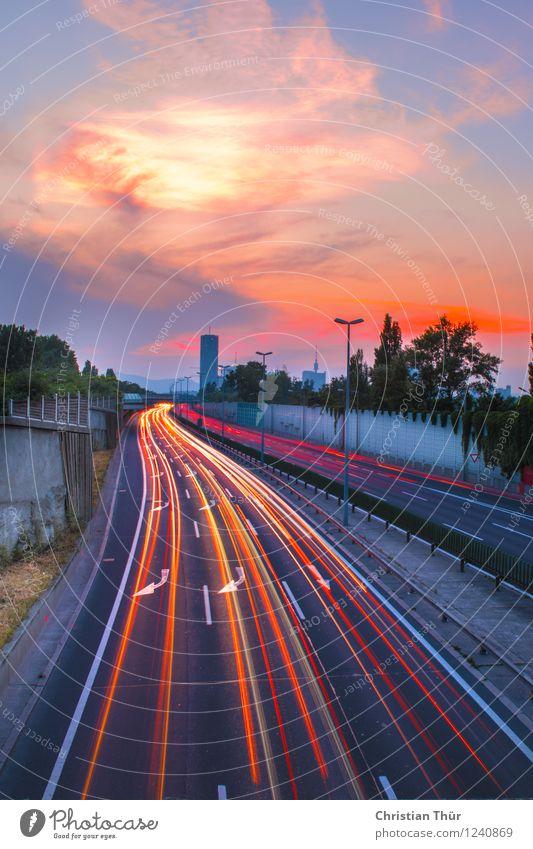 Autobahnlichter Himmel Stadt Pflanze Sommer Sonne Baum Wolken Haus Frühling Gefühle Stimmung Zufriedenheit leuchten Verkehr Hochhaus Sträucher