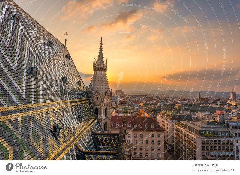 Wiener Stephansdom Himmel Ferien & Urlaub & Reisen Stadt Sommer Sonne Wolken Wand Architektur Gebäude Mauer Religion & Glaube Horizont Fassade Platz