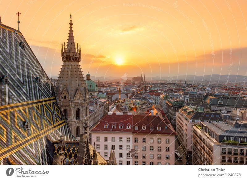 Stephansdom Wien Ferien & Urlaub & Reisen Tourismus Ausflug Ferne Freiheit Sightseeing Städtereise Umwelt Himmel Wolken Sonnenaufgang Sonnenuntergang Sommer