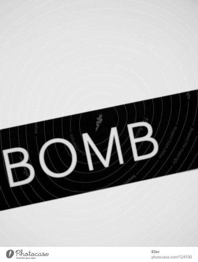 Explosiv weiß schwarz Schriftzeichen Grafik u. Illustration Zeichen Gemälde diagonal Bombe