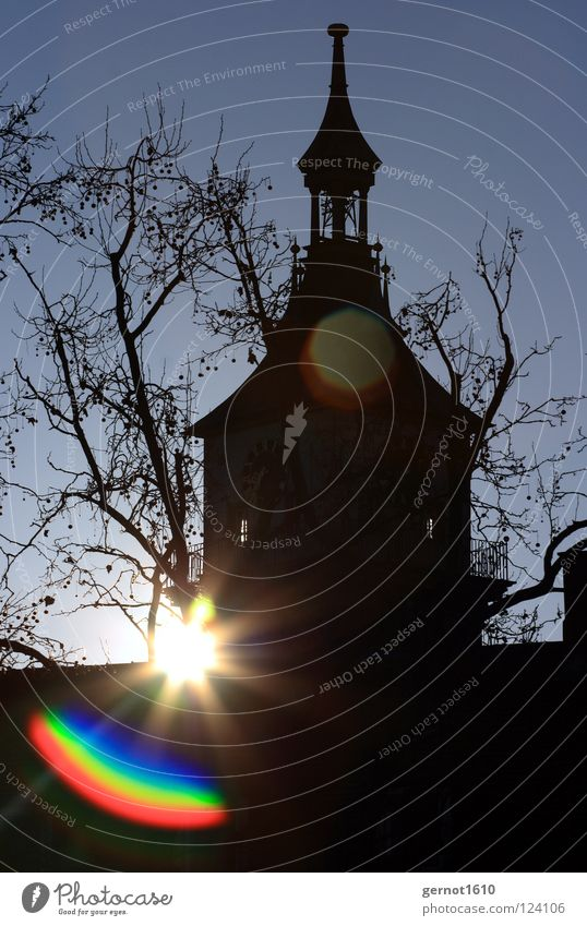 Good Morning Cannstatt II alt Himmel Sonne blau Winter Religion & Glaube Stern Stern (Symbol) Turm Denkmal historisch Wahrzeichen Linse Kirchturm Pfarrkirche