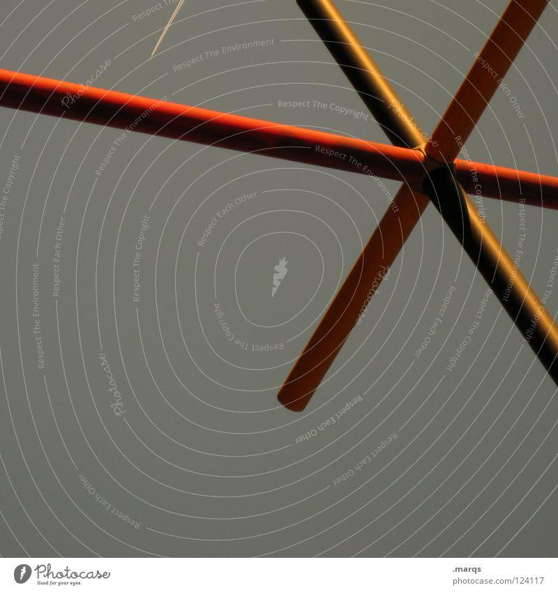 * rot gelb grau Linie Architektur Rücken Stern (Symbol) Kommunizieren obskur Geometrie Baugerüst sehr wenige kreuzen quer eigenwillig