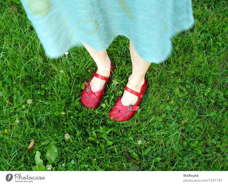 Dorothy und der Zauberer von Oz Natur Schönes Wetter Gras Garten Park Wiese Kleid Schuhe Sandale Ballerina Riemchen Zauberschuhe stehen natürlich grün türkis