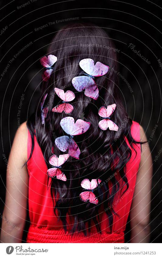 Schmetterlinge schön Haare & Frisuren Mensch feminin Jugendliche Erwachsene 1 18-30 Jahre 30-45 Jahre Frühling Sommer Accessoire schwarzhaarig brünett