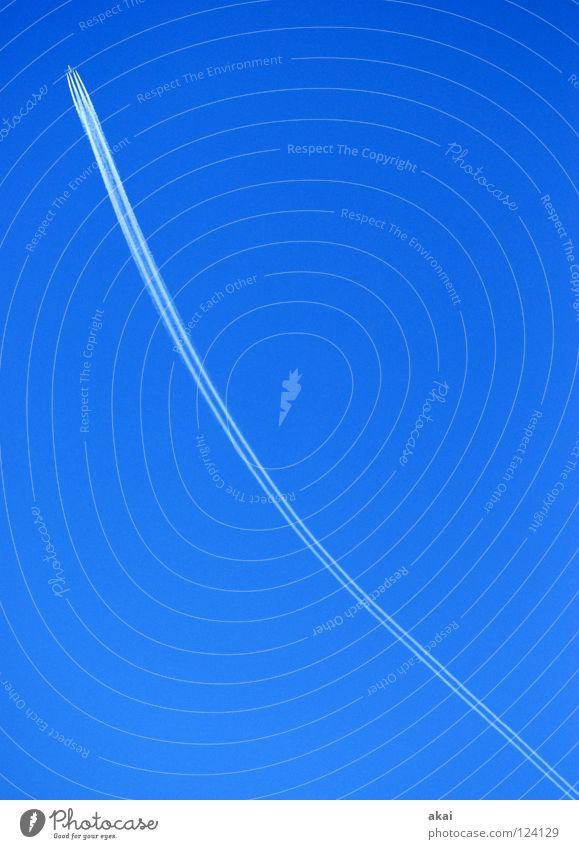 Wohin? Himmel blau Freude Ferien & Urlaub & Reisen Wolken Flugzeug Aktion Luftverkehr Tourismus Flügel Streifen Rauch Veranstaltung Klang aufsteigen Kohlendioxid