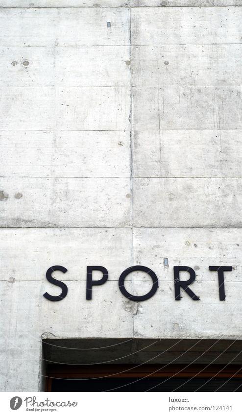 Sport Ort Spielen Gebäude Freizeit & Hobby Beton Schriftzeichen Typographie Sporthalle Beschriftung