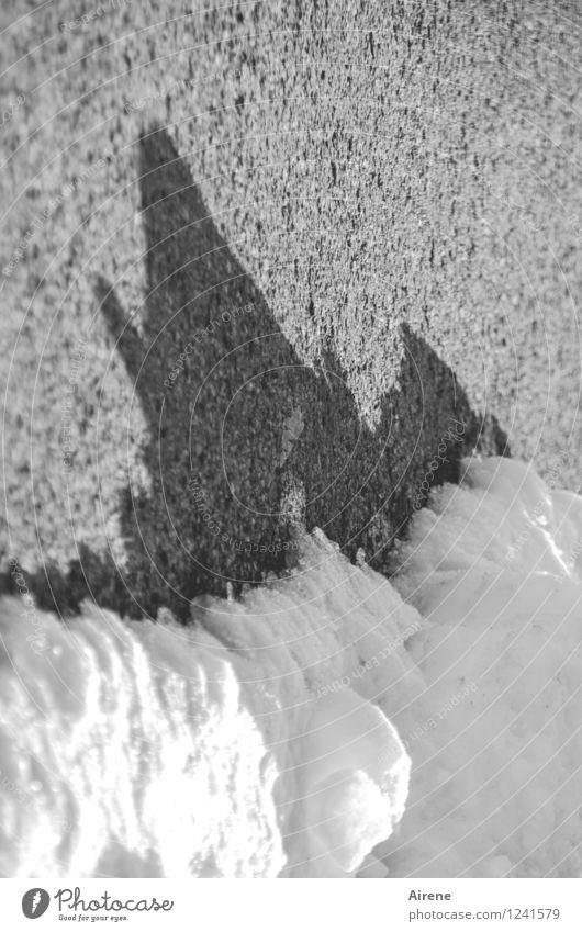 Portion Eis gefällig? Winter Frost Schnee Straße kalt Spitze schwarz weiß bizarr schmelzen Asphalt Schatten Zacken Schwarzweißfoto Außenaufnahme Menschenleer