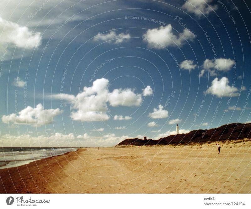 Blåvands Fyr Wasser Himmel Meer blau Sommer Strand Wolken Erholung Landschaft Luft Küste Horizont Aussicht Spaziergang Freizeit & Hobby Leuchtturm