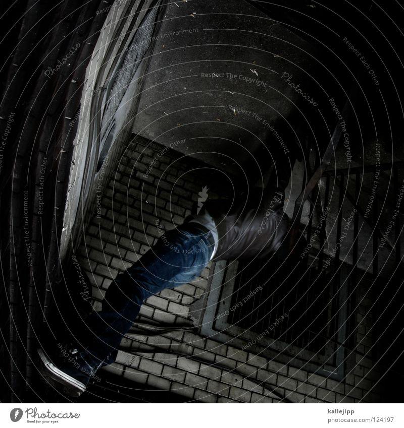180° Mann Silhouette Dieb Krimineller Rampe Laderampe Fußgänger Schacht Tunnel Untergrund Ausbruch Flucht umfallen Fenster Kopfstand Parkhaus Licht Geometrie