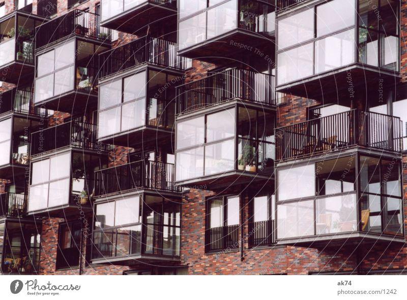 Balkone rot Architektur Backstein Europa Rotterdam