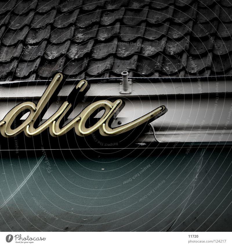 Buenos día(s) Lampe Schriftzeichen Dach Werbung Café Typographie Niederlande Dia Leuchtreklame Dachziegel