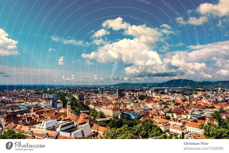 Graz Panorama Ferien & Urlaub & Reisen Tourismus Ausflug Abenteuer Freiheit Städtereise Umwelt Natur Landschaft Himmel Wolken Sonne Sommer Schönes Wetter Stadt