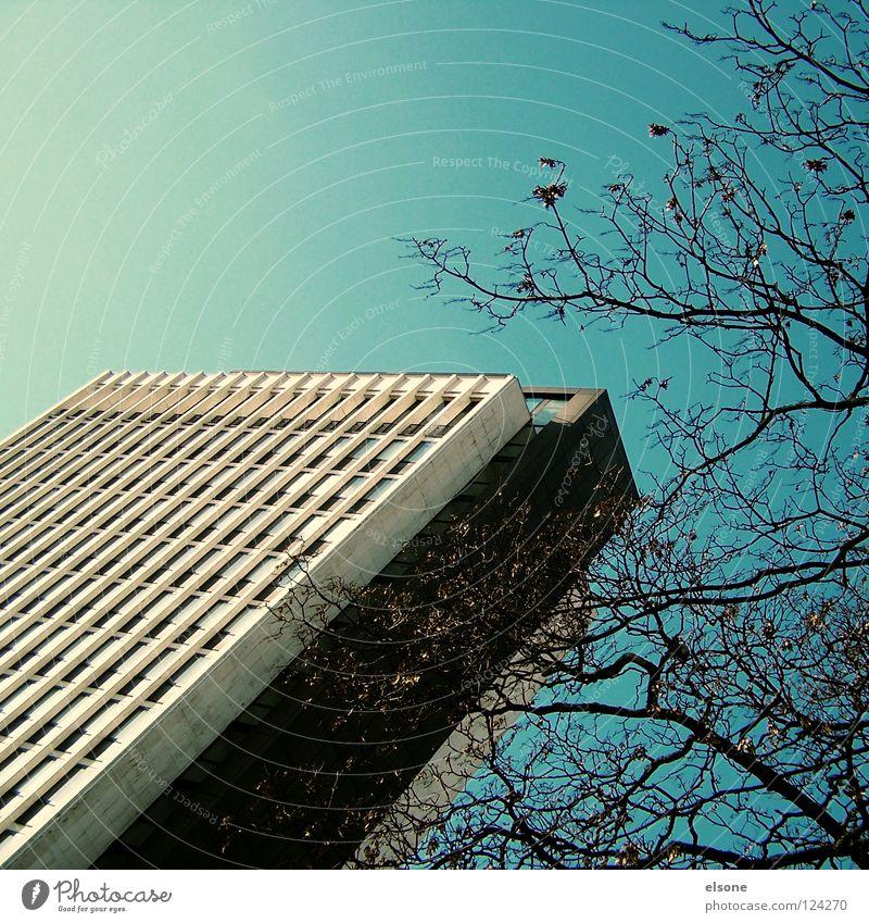 ::25_ALLES GUTE INGE:: Gegenwart Haus Karlsruhe groß Macht Stadt Hochhaus Himmel Gebäude Beton Fenster kalt schwarz graphisch einfach eckig Ecke grau dunkel