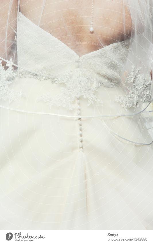 Der große weiße Tag Mensch Frau Jugendliche 18-30 Jahre Erwachsene feminin Glück Körper Bekleidung Hochzeit Kleid Vorfreude Braut Brautkleid Brautschleier