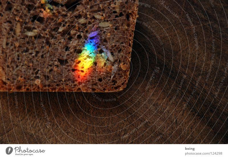 geschnitten Brot Regenbogen Lichtbrechung Prisma Spektralfarbe Strahlung Halo RGB grün gelb mischen mehrfarbig Symbole & Metaphern Toleranz Vielfältig Hoffnung