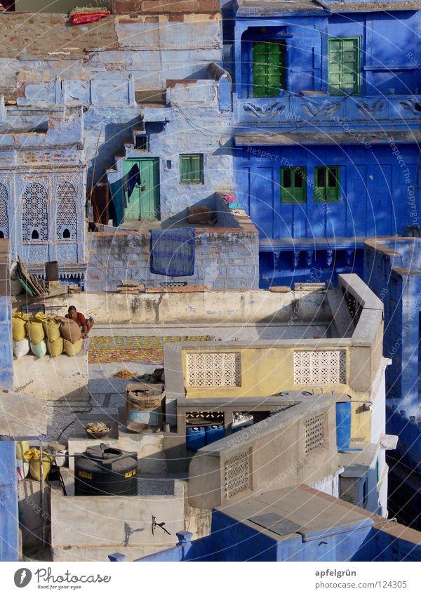 Jodhpur – Rajasthan, Indien blau Ferien & Urlaub & Reisen Farbe Architektur Lampe hell Arbeit & Erwerbstätigkeit Armut einzigartig Frieden Asien Indien exotisch harmonisch Alltagsfotografie friedlich