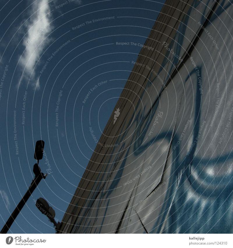 """"""" Himmel blau Stadt Haus Lampe Wand Luft Graffiti Architektur Laterne Straßenkunst Lateinisches Alphabet Satzzeichen"""