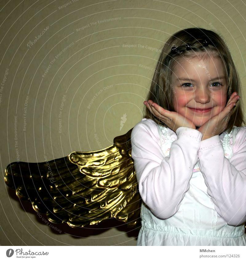 Wie komm´ ich in den Himmel? Hand weiß Freude lachen gold Fröhlichkeit Flügel Engel Maske Frieden Karneval verkleiden