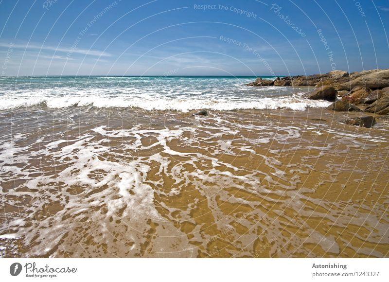 Wasser-Muster Himmel Natur blau Sommer weiß Meer Landschaft Wolken Umwelt Küste Stein braun Linie Felsen Sand