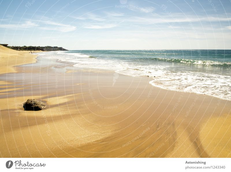 Rückzug Umwelt Natur Landschaft Sand Wasser Himmel Wolken Horizont Sommer Wetter Schönes Wetter Wärme Hügel Felsen Wellen Küste Meer Atlantik Marokko Stein blau