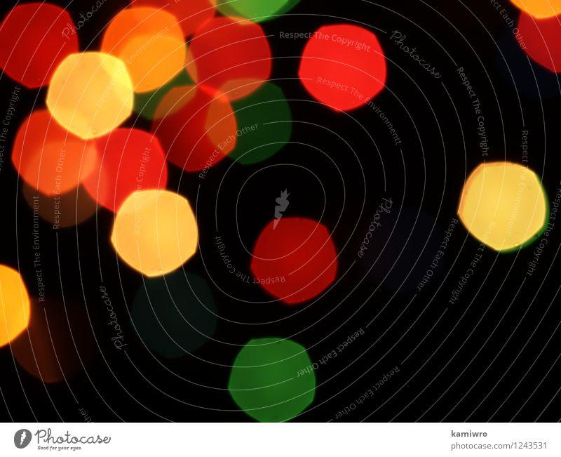 Unscharfe abstrakte Lichter, die auf einem schwarzen Hintergrund blinken. schön Farbe Auge Feste & Feiern außergewöhnlich Kunst hell glänzend Design