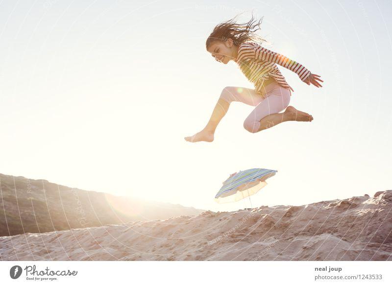 Jump for Joy -II- Mensch Kind Ferien & Urlaub & Reisen Sommer Freude Mädchen Strand Bewegung Glück fliegen Kindheit Fröhlichkeit Lebensfreude Schönes Wetter