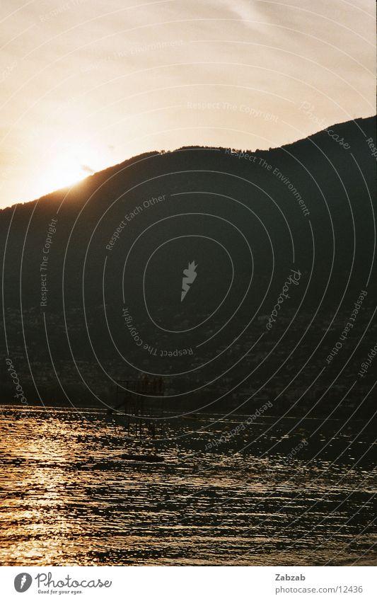 Untergang am See die zweite Sonnenuntergang Ferien & Urlaub & Reisen Schweiz Kanton Tessin Romantik Wasser