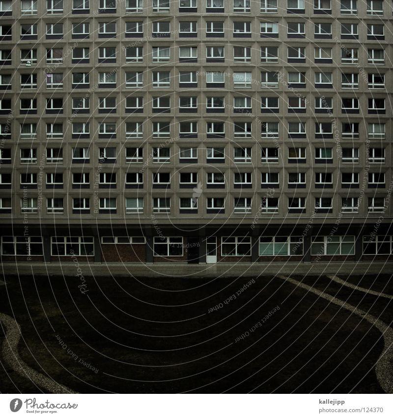 statisch vs. organisch Stadt Berlin grau Park Architektur Wohnung Design Beton Hochhaus leer trist Zukunft Bauernhof Mitte Quadrat Vergangenheit