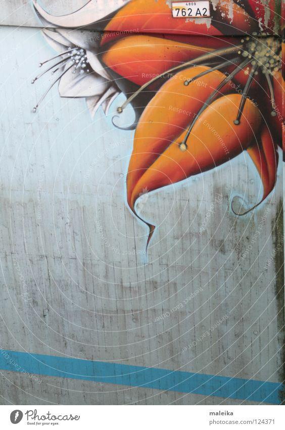 under the bridge Wand Blüte Graffiti Stimmung orange Kunst dreckig Brücke Ecke Freundlichkeit Straßenkunst Schwung Schnörkel Kunsthandwerk Wandmalereien