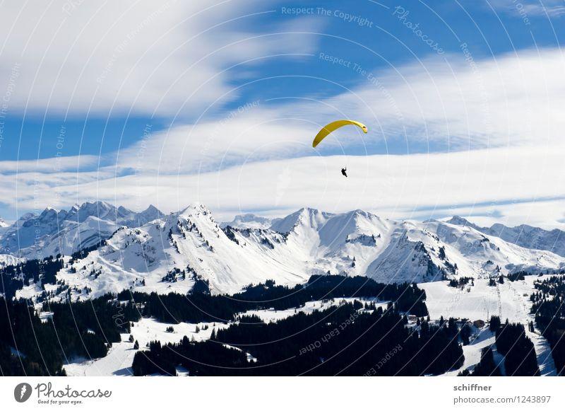 kalt | Bananensplit Mensch 1 Umwelt Natur Landschaft Himmel Wolken Schönes Wetter Eis Frost Schnee Felsen Alpen Berge u. Gebirge Gipfel Schneebedeckte Gipfel