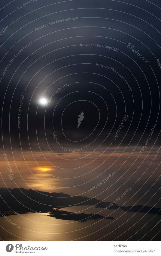 Tor zum Himmel Sonnenuntergang Flugzeug fliegen Luftverkehr Greta Fensterplatz Kohlendioxid Meer Mittelmeer Mallorca Abheben Flugzeugstart Landen