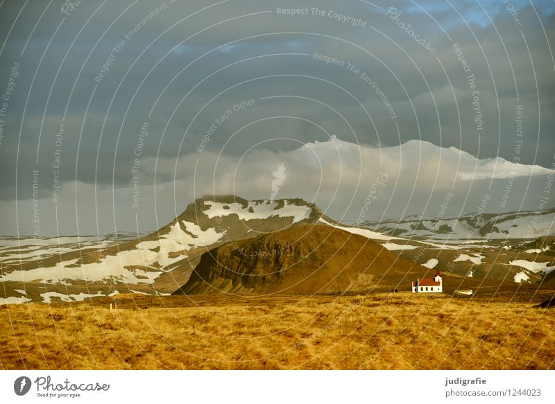 Island Umwelt Natur Landschaft Urelemente Himmel Wolken Klima Berge u. Gebirge Schneebedeckte Gipfel Gletscher Vulkan Snæfellsnes Kirche leuchten